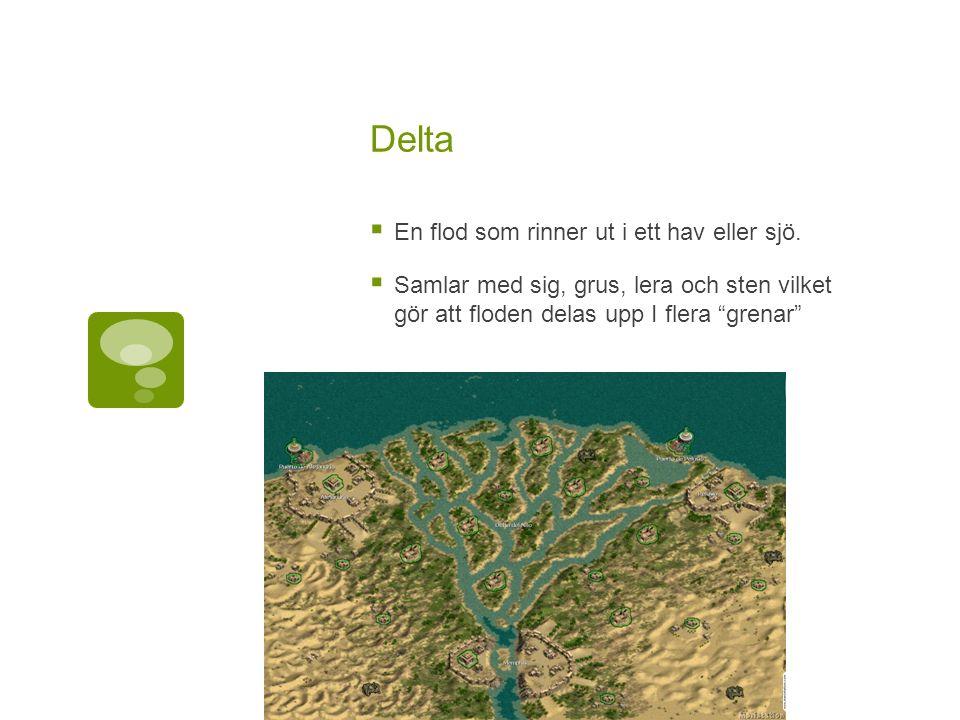 Delta  En flod som rinner ut i ett hav eller sjö.