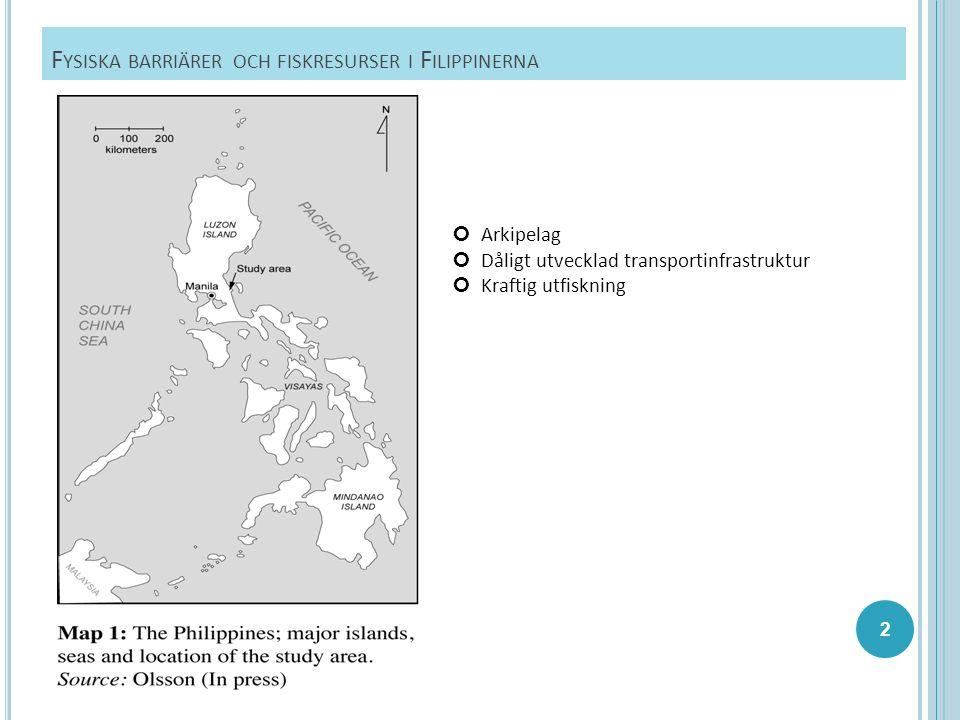 N ATUR - OCH TRANSPORTGEOGRAFISKA BARRIÄRER I STUDIEOMRÅDET Bergskedja i väster Stilla Havet i öster (stora fiskresurser) Flod utan broförbindelse i norr Mangroveträsk i söder Monsun (oktober till mitten januari) Tyfoner Inga stora städer eller hamnar på Filippinska östkusten 1 väg leder in till området Floden i norr har inte broförbindelse Många av kommunens vägar ej framkomliga vid regn Osäker tillgång till elektricitet 1994: public calling centre 1996: fast telefon i hushållen i huvudorten 2002: mobilt nätverk 13