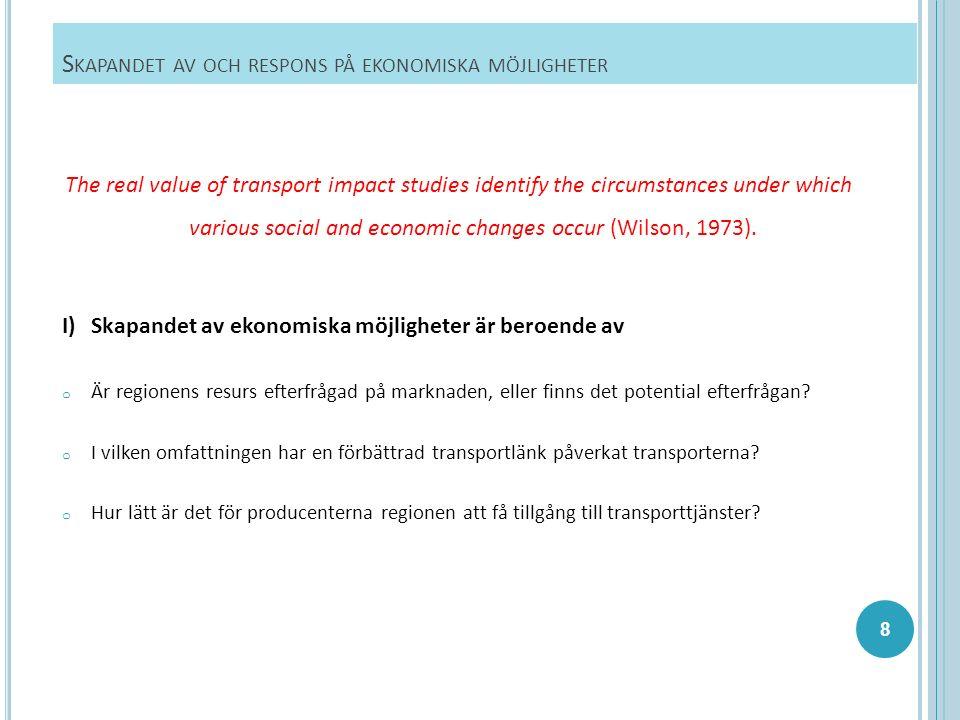 S KAPANDET AV OCH RESPONS PÅ EKONOMISKA MÖJLIGHETER The real value of transport impact studies identify the circumstances under which various social and economic changes occur (Wilson, 1973).