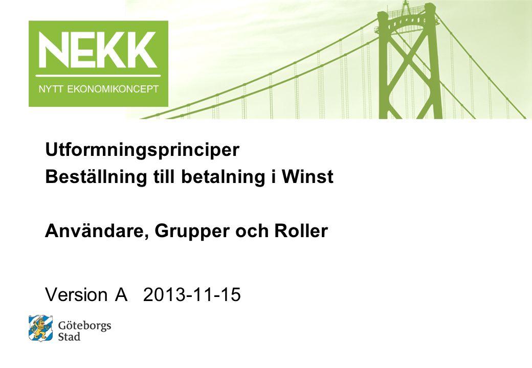 Utformningsprinciper Beställning till betalning i Winst Användare, Grupper och Roller Version A2013-11-15