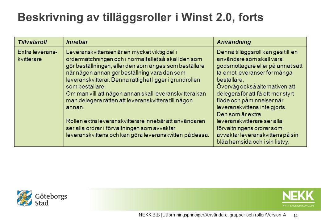 Beskrivning av tilläggsroller i Winst 2.0, forts TillvalsrollInnebärAnvändning Extra leverans- kvitterare Leveranskvittensen är en mycket viktig del i