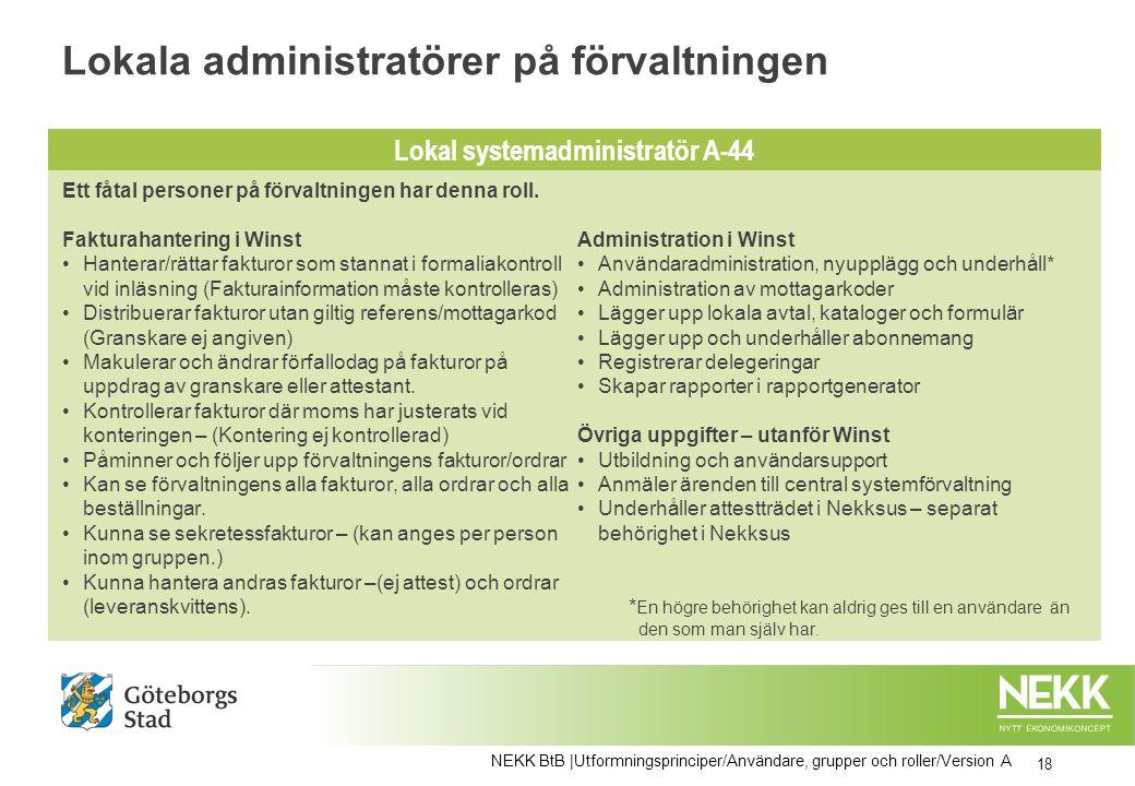 Lokala administratörer på förvaltningen 18 NEKK BtB |Utformningsprinciper/Användare, grupper och roller/Version A Ett fåtal personer på förvaltningen