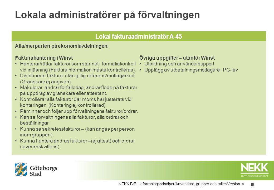 Lokala administratörer på förvaltningen 19 NEKK BtB |Utformningsprinciper/Användare, grupper och roller/Version A Alla/merparten på ekonomiavdelningen