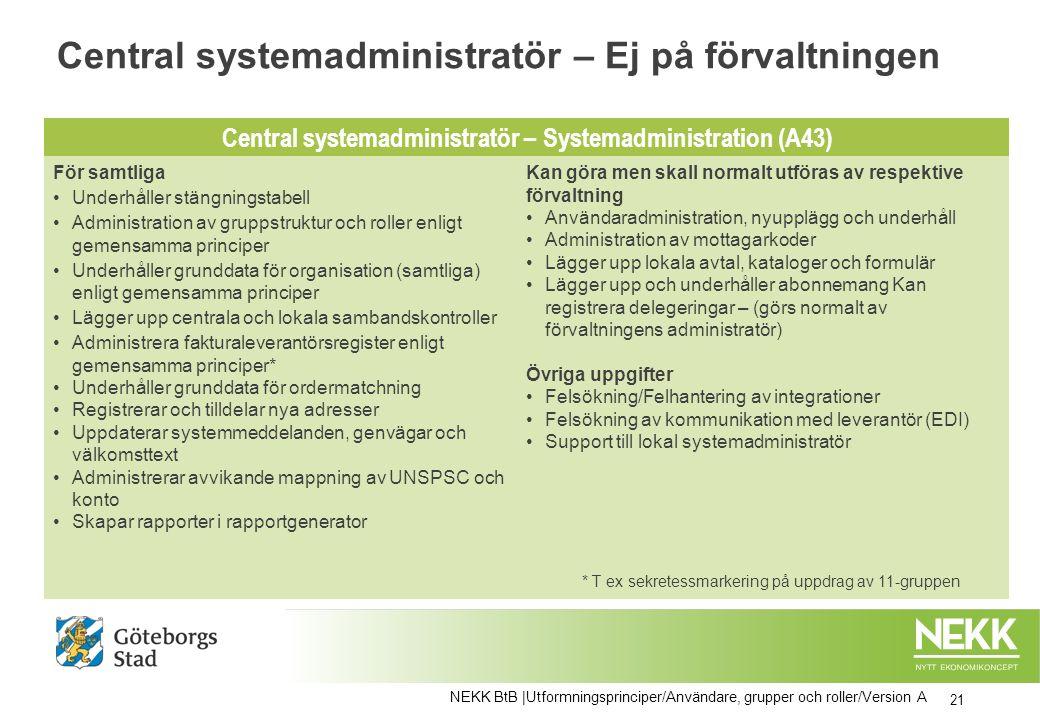 Central systemadministratör – Ej på förvaltningen 21 NEKK BtB |Utformningsprinciper/Användare, grupper och roller/Version A Central systemadministratö
