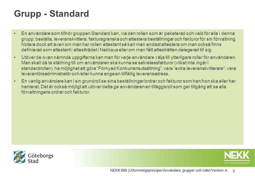 Grupp - Standard En användare som tillhör gruppen Standard kan, via den rollen som är paketerad och vald för alla i denna grupp; beställa, leveranskvi