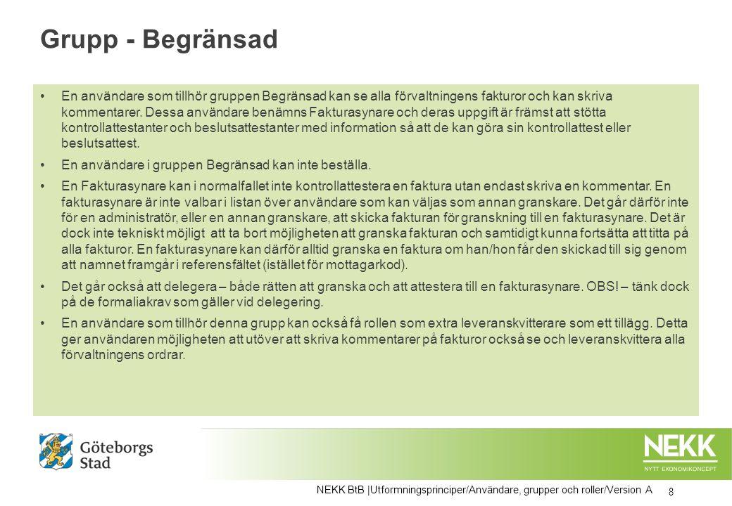 Lokala administratörer på förvaltningen 19 NEKK BtB |Utformningsprinciper/Användare, grupper och roller/Version A Alla/merparten på ekonomiavdelningen.