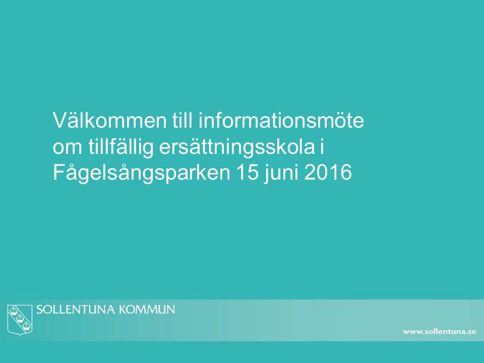 Välkommen till informationsmöte om tillfällig ersättningsskola i Fågelsångsparken 15 juni 2016