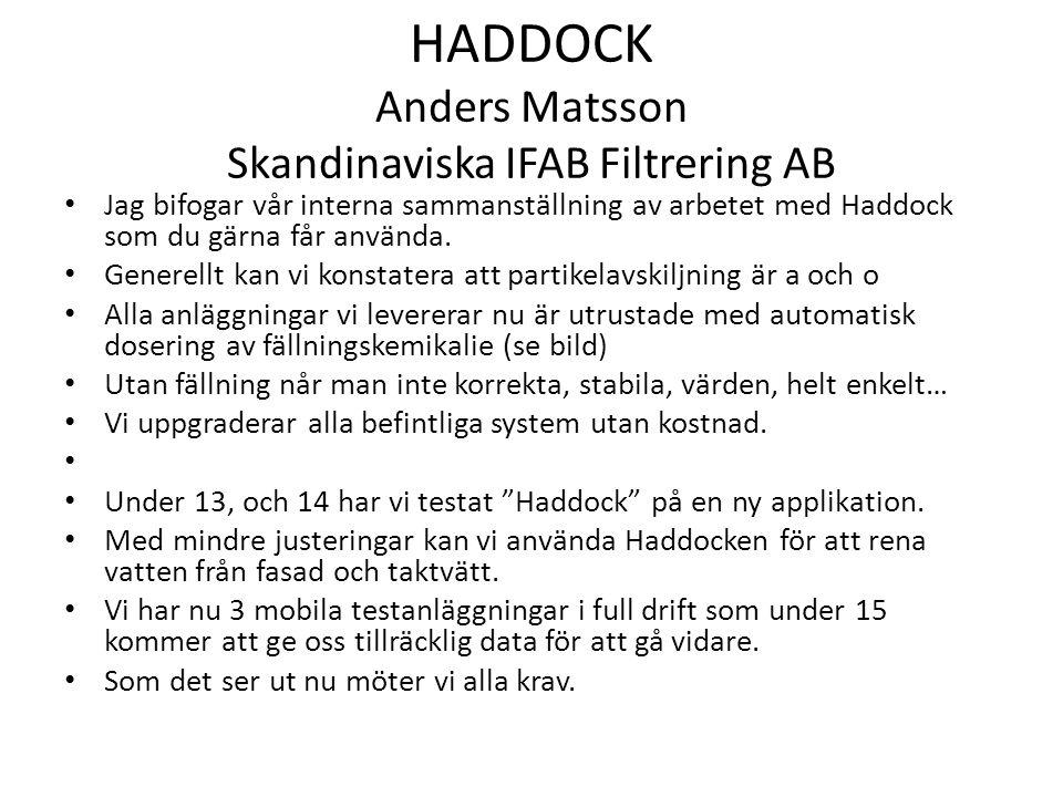 HADDOCK Anders Matsson Skandinaviska IFAB Filtrering AB Jag bifogar vår interna sammanställning av arbetet med Haddock som du gärna får använda. Gener