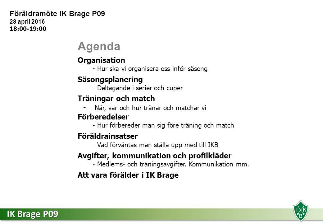 IK Brage P09 Säsongen 2016 - P09 Martin Arvidson Tränare 070-591 03 39 Per MännikköTränare Geraldine BjörklundAss.