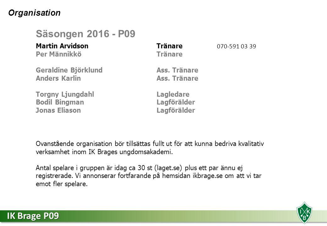 IK Brage P09 Kort förklaring av roller Tränare Fotbollsintresserad med fotbollskunskaper.