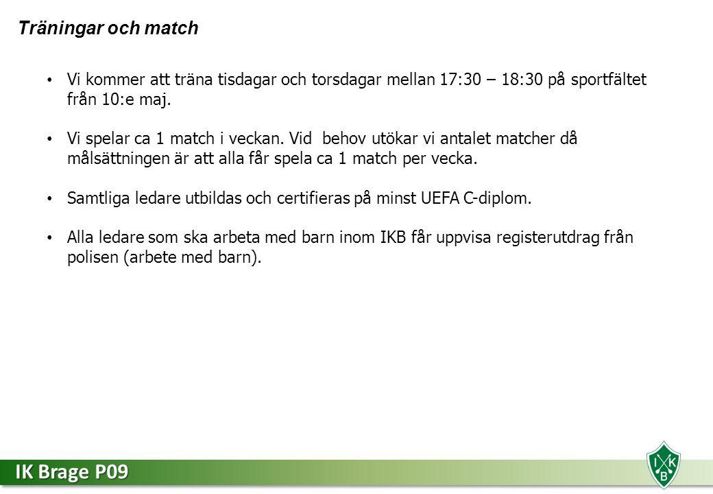 IK Brage P09 Träningar och match Vi kommer att träna tisdagar och torsdagar mellan 17:30 – 18:30 på sportfältet från 10:e maj.