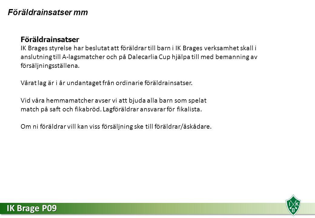 IK Brage P09 Föräldrainsatser mm Föräldrainsatser IK Brages styrelse har beslutat att föräldrar till barn i IK Brages verksamhet skall i anslutning till A-lagsmatcher och på Dalecarlia Cup hjälpa till med bemanning av försäljningsställena.