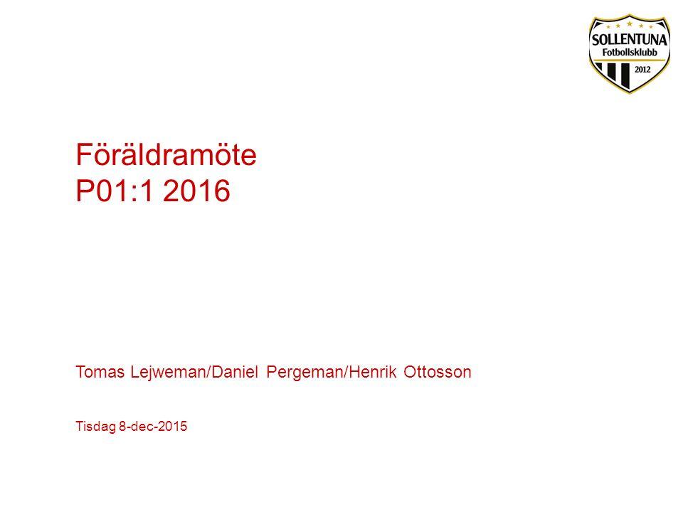 Agenda -Information verksamheten och utbildningsplanen för 2016 -Cuper och matcher under året -Ledighetsperioder -Årsplanering 2016 -Föräldraorganisation -Ekonomi och budget 2016 -Sponsring och lagaktiviteter -Övriga frågor