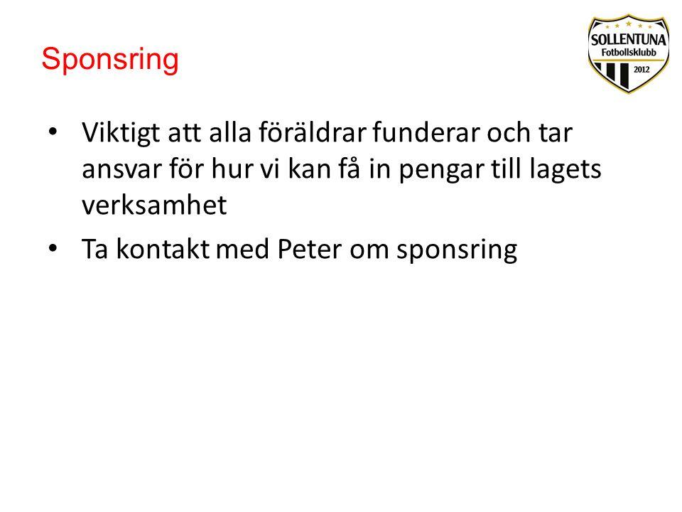 Sponsring Viktigt att alla föräldrar funderar och tar ansvar för hur vi kan få in pengar till lagets verksamhet Ta kontakt med Peter om sponsring