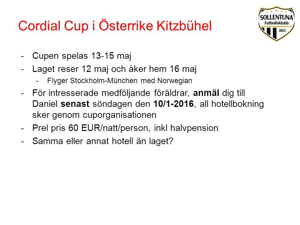 Cordial Cup i Österrike Kitzbühel -Cupen spelas 13-15 maj -Laget reser 12 maj och åker hem 16 maj -Flyger Stockholm-München med Norwegian -För intress