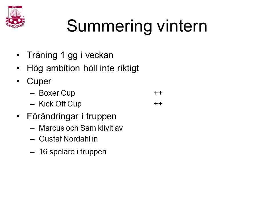 Summering vintern Träning 1 gg i veckan Hög ambition höll inte riktigt Cuper –Boxer Cup++ –Kick Off Cup++ Förändringar i truppen –Marcus och Sam klivi