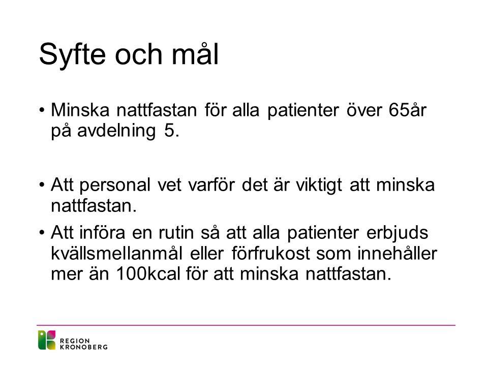 Syfte och mål Minska nattfastan för alla patienter över 65år på avdelning 5.