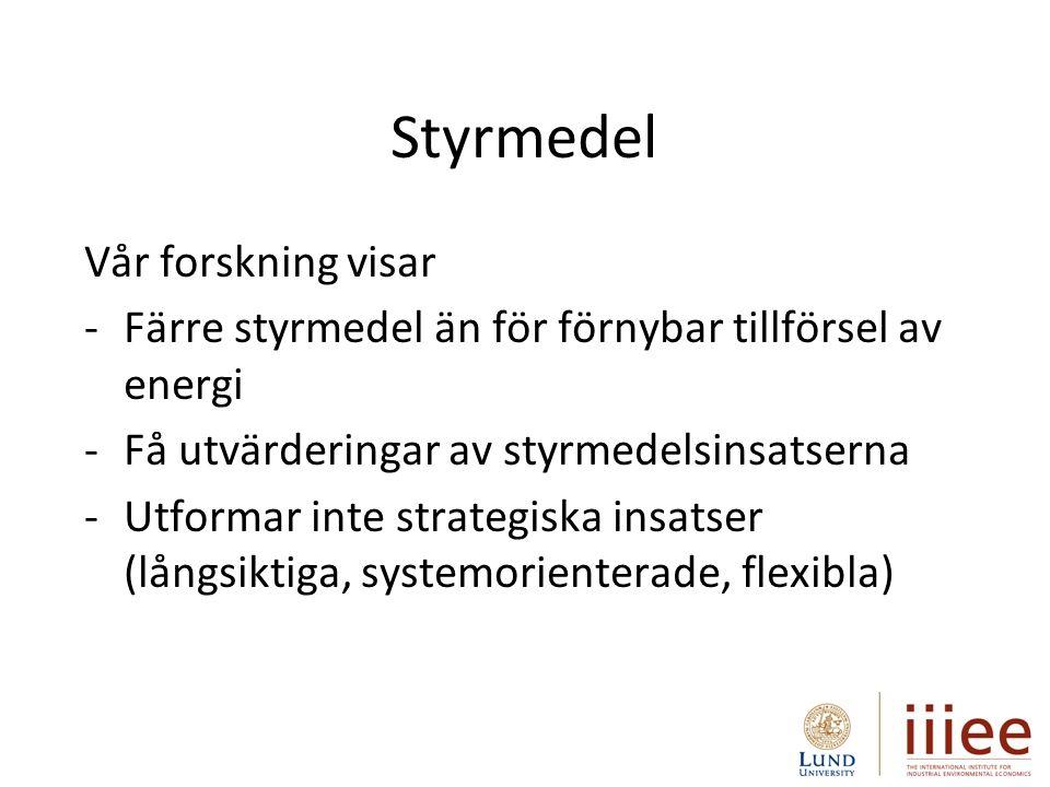 Styrmedel Vår forskning visar -Färre styrmedel än för förnybar tillförsel av energi -Få utvärderingar av styrmedelsinsatserna -Utformar inte strategiska insatser (långsiktiga, systemorienterade, flexibla)