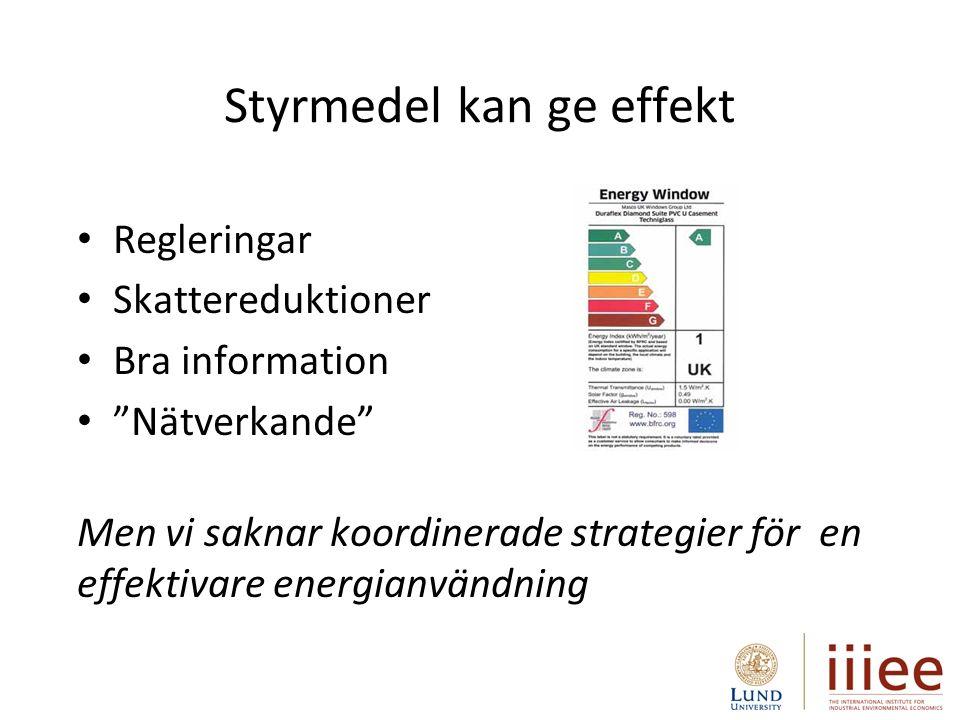 Styrmedel kan ge effekt Regleringar Skattereduktioner Bra information Nätverkande Men vi saknar koordinerade strategier för en effektivare energianvändning