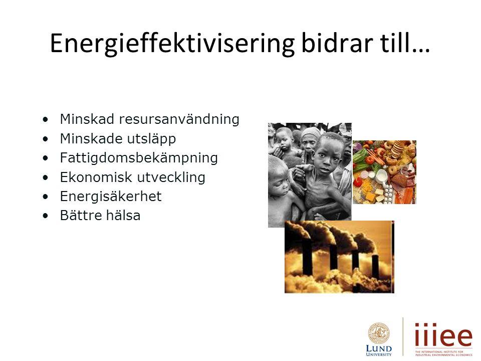 Energieffektivisering bidrar till… Minskad resursanvändning Minskade utsläpp Fattigdomsbekämpning Ekonomisk utveckling Energisäkerhet Bättre hälsa