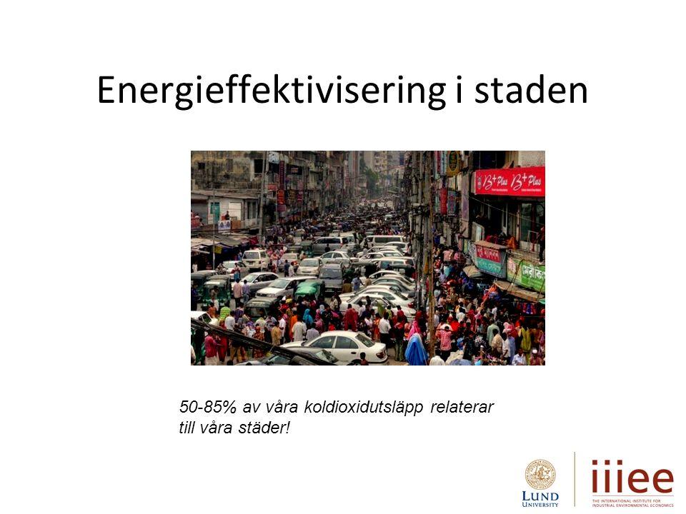 Energieffektivisering i staden 50-85% av våra koldioxidutsläpp relaterar till våra städer!