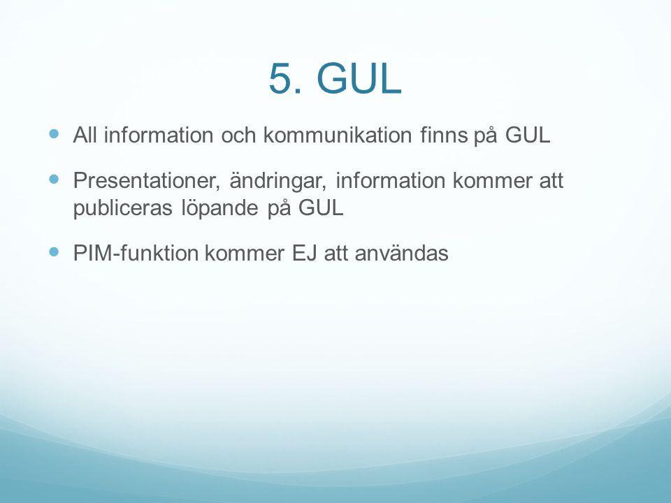 5. GUL All information och kommunikation finns på GUL Presentationer, ändringar, information kommer att publiceras löpande på GUL PIM-funktion kommer