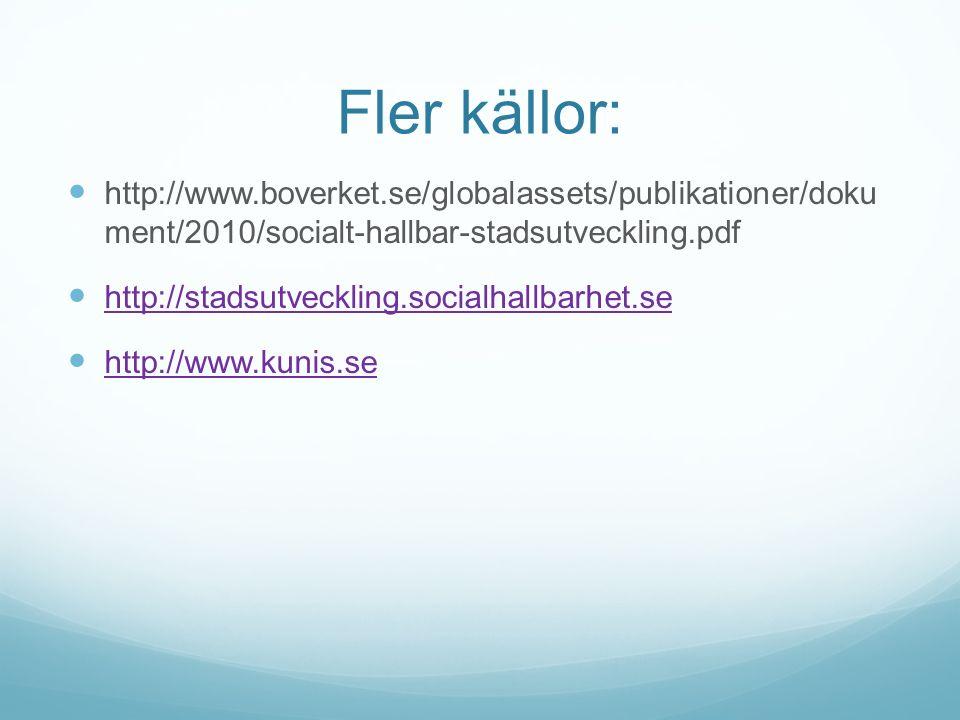Fler källor: http://www.boverket.se/globalassets/publikationer/doku ment/2010/socialt-hallbar-stadsutveckling.pdf http://stadsutveckling.socialhallbarhet.se http://www.kunis.se