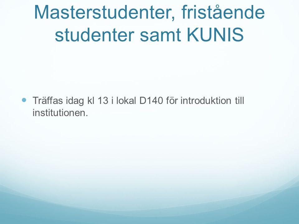Masterstudenter, fristående studenter samt KUNIS Träffas idag kl 13 i lokal D140 för introduktion till institutionen.