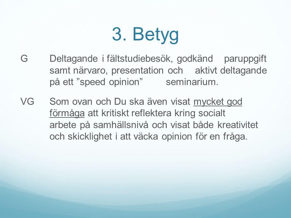 """3. Betyg G Deltagande i fältstudiebesök, godkänd paruppgift samt närvaro, presentation och aktivt deltagande på ett """"speed opinion"""" seminarium. VG Som"""