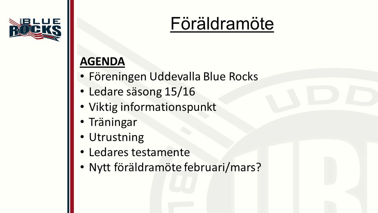 Föräldramöte AGENDA Föreningen Uddevalla Blue Rocks Ledare säsong 15/16 Viktig informationspunkt Träningar Utrustning Ledares testamente Nytt föräldramöte februari/mars