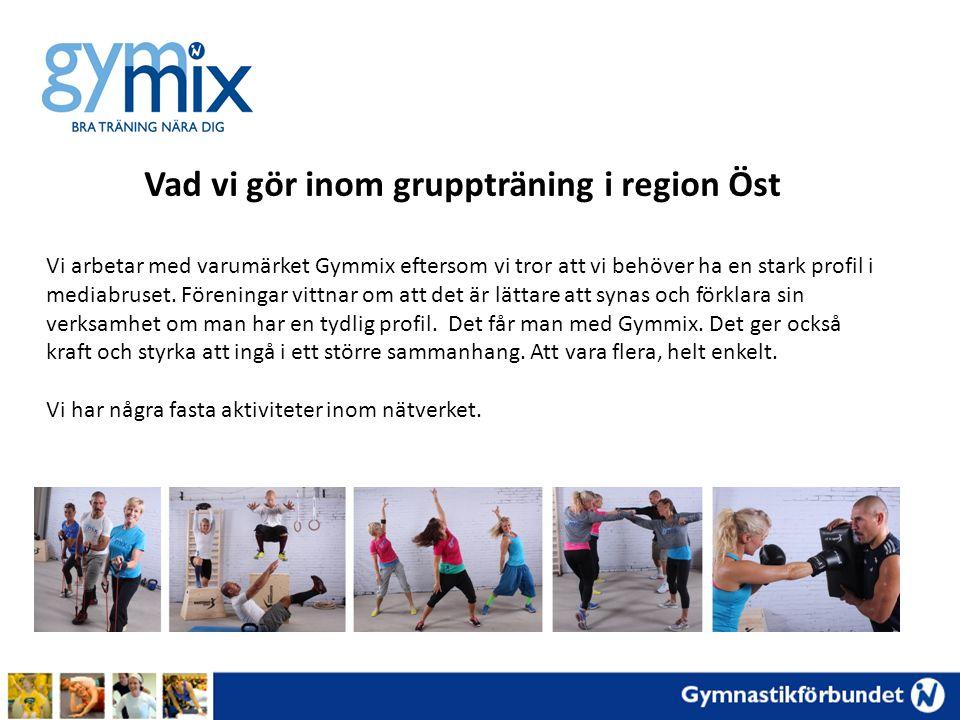 Vad vi gör inom gruppträning i region Öst Vi arbetar med varumärket Gymmix eftersom vi tror att vi behöver ha en stark profil i mediabruset. Föreninga