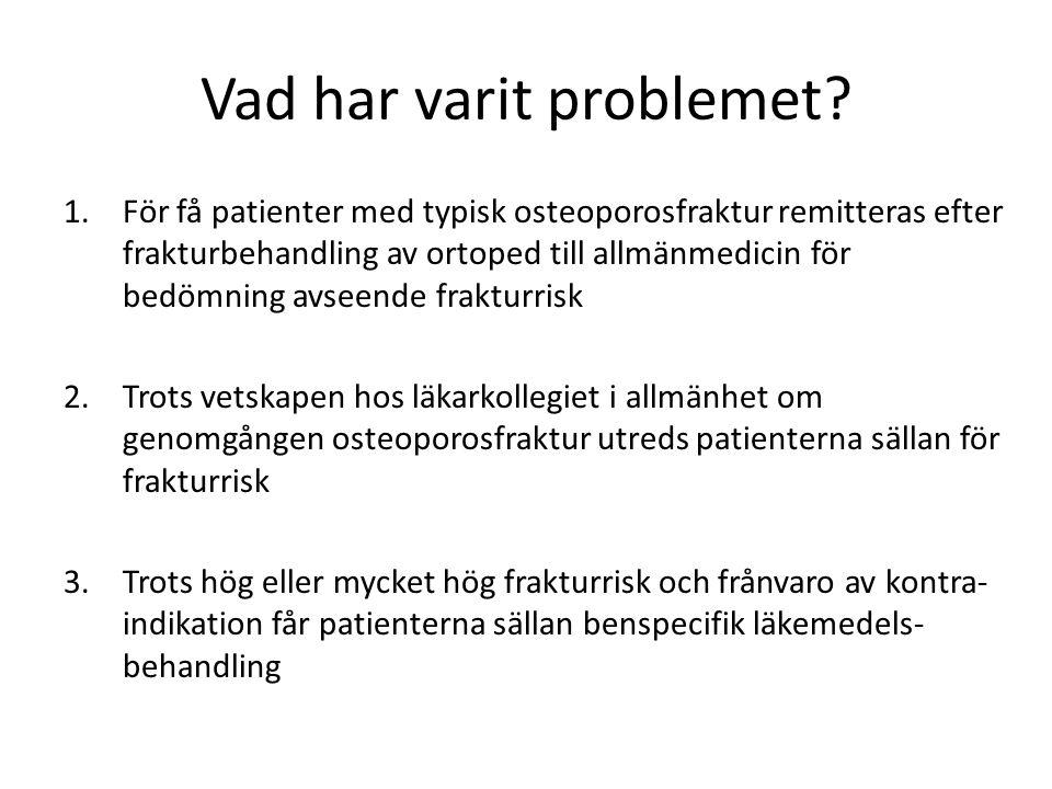 Vad har varit problemet? 1.För få patienter med typisk osteoporosfraktur remitteras efter frakturbehandling av ortoped till allmänmedicin för bedömnin