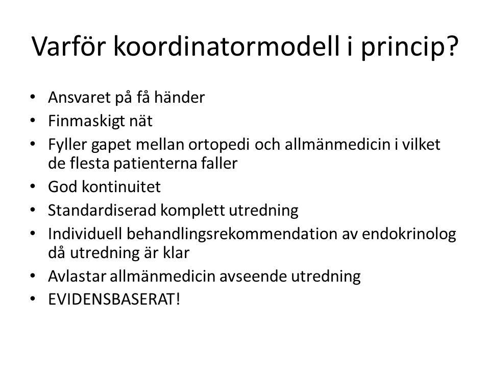 Varför koordinatormodell i princip? Ansvaret på få händer Finmaskigt nät Fyller gapet mellan ortopedi och allmänmedicin i vilket de flesta patienterna