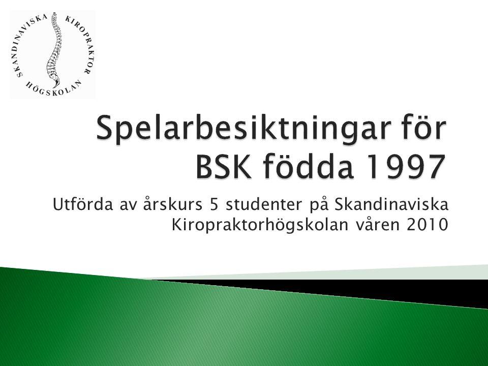 Utförda av årskurs 5 studenter på Skandinaviska Kiropraktorhögskolan våren 2010