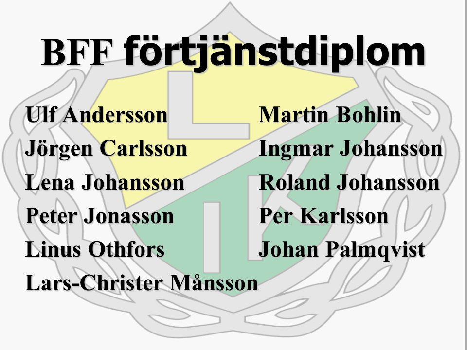 BFF förtjänstdiplom Ulf AnderssonMartin Bohlin Jörgen CarlssonIngmar Johansson Lena JohanssonRoland Johansson Peter JonassonPer Karlsson Linus OthforsJohan Palmqvist Lars-Christer Månsson
