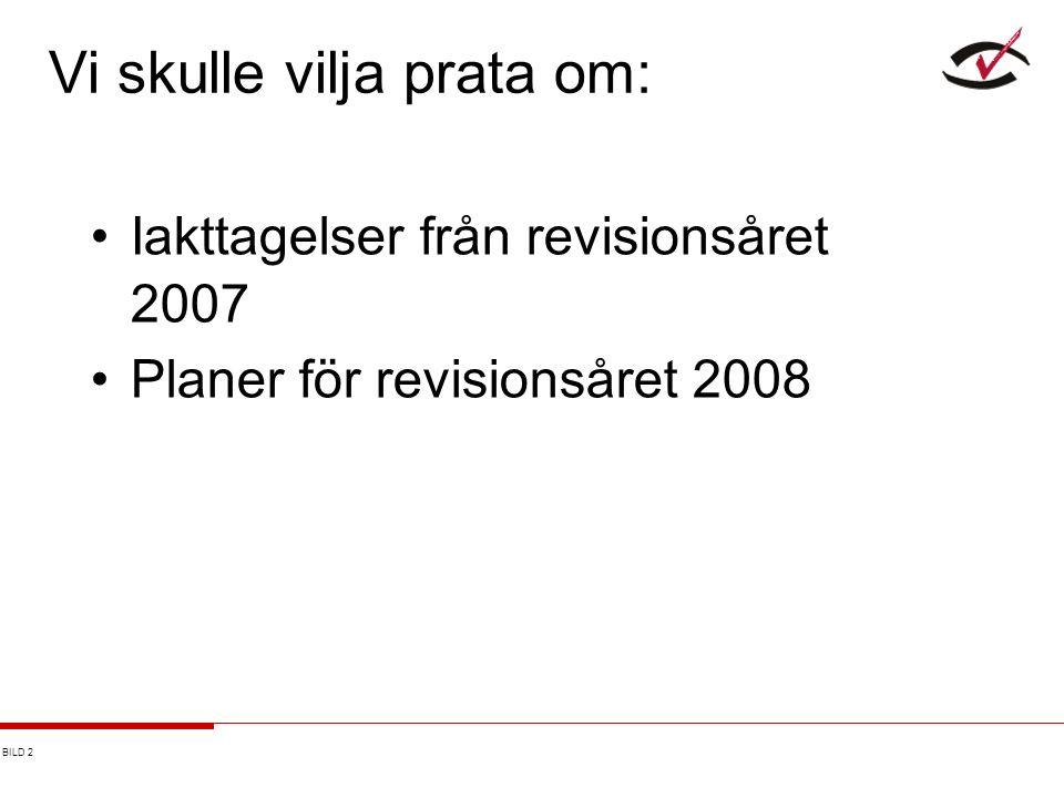 BILD 2 Vi skulle vilja prata om: Iakttagelser från revisionsåret 2007 Planer för revisionsåret 2008
