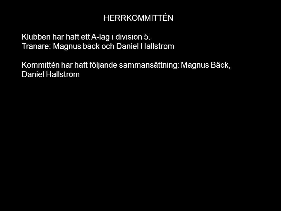 HERRKOMMITTÉN Klubben har haft ett A-lag i division 5.