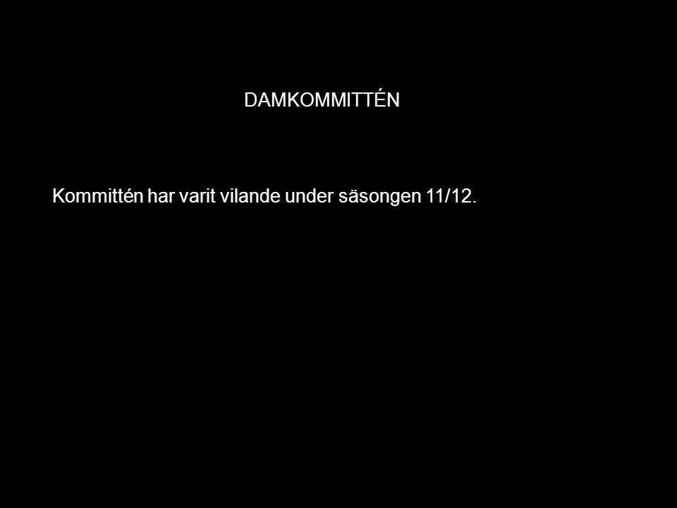 DAMKOMMITTÉN Kommittén har varit vilande under säsongen 11/12.