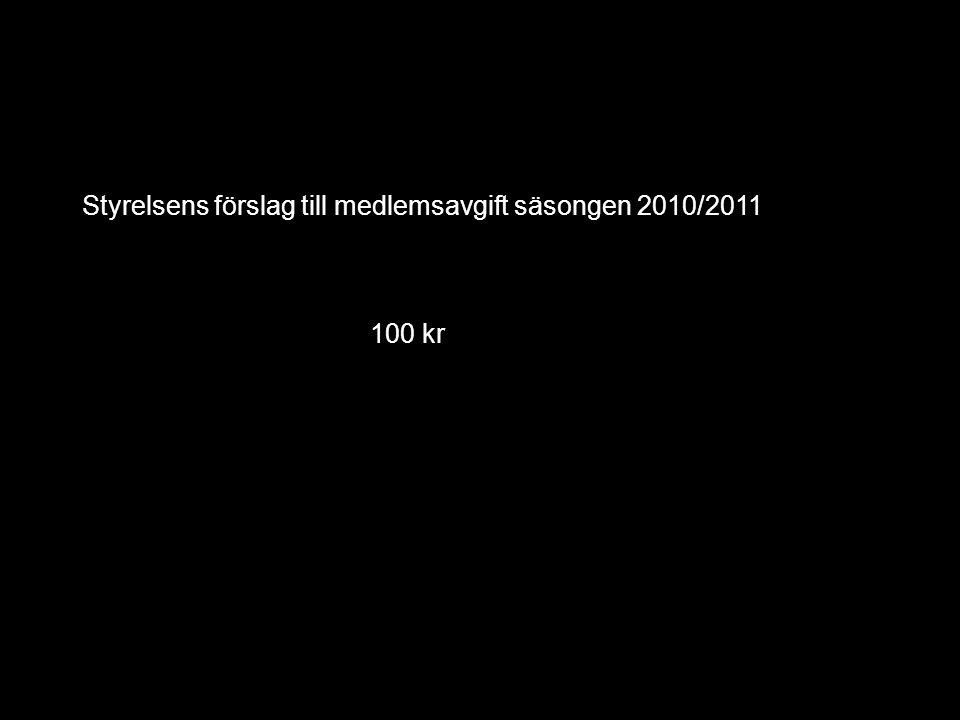 Styrelsens förslag till medlemsavgift säsongen 2010/2011 100 kr