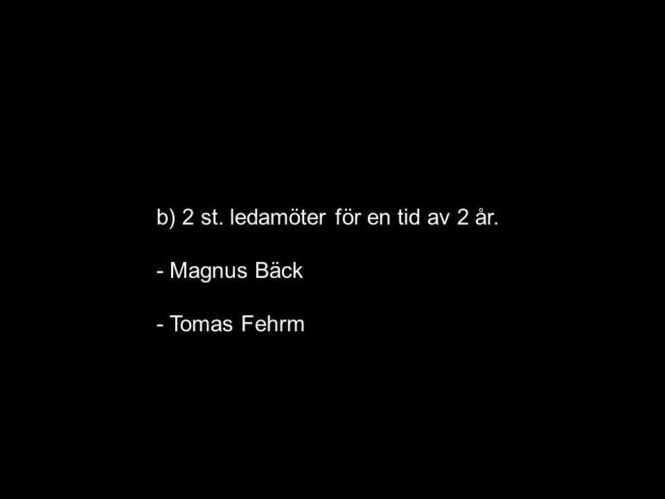 b) 2 st. ledamöter för en tid av 2 år. - Magnus Bäck - Tomas Fehrm
