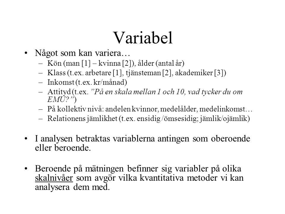 Variabel Något som kan variera… –Kön (man [1] – kvinna [2]), ålder (antal år) –Klass (t.ex.