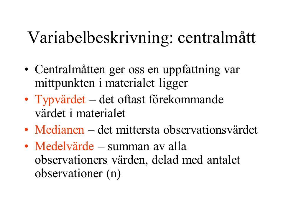 Variabelbeskrivning: centralmått Centralmåtten ger oss en uppfattning var mittpunkten i materialet ligger Typvärdet – det oftast förekommande värdet i materialet Medianen – det mittersta observationsvärdet Medelvärde – summan av alla observationers värden, delad med antalet observationer (n)