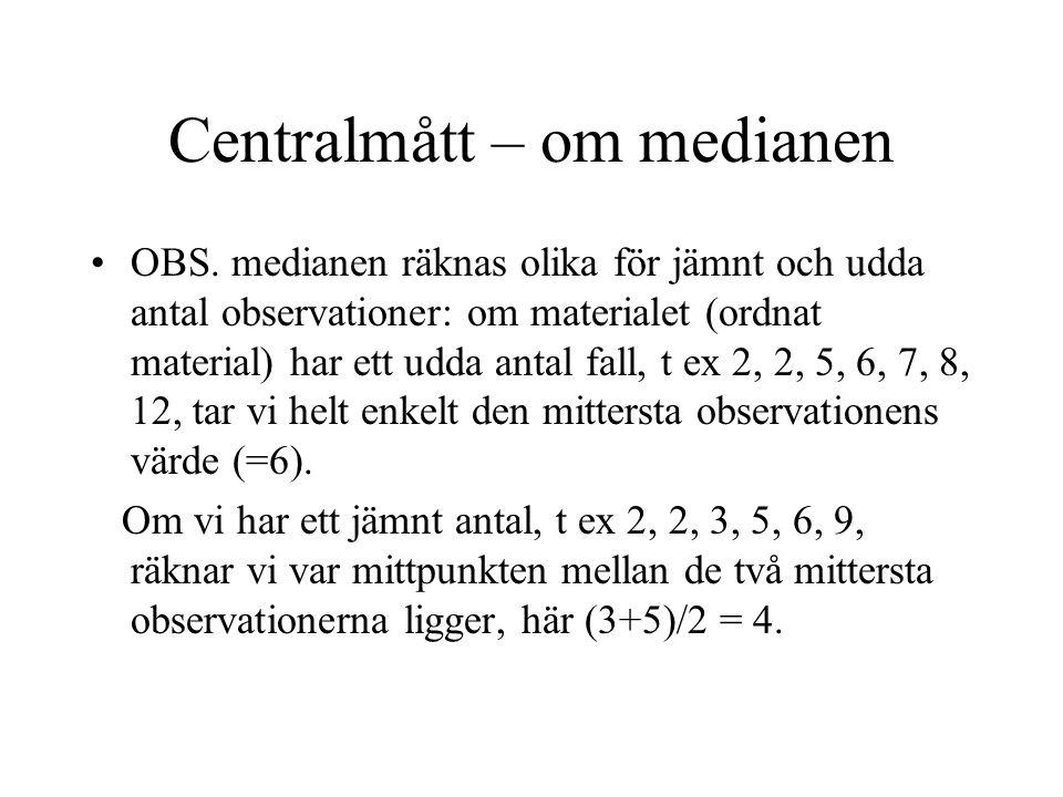 Centralmått – om medianen OBS.