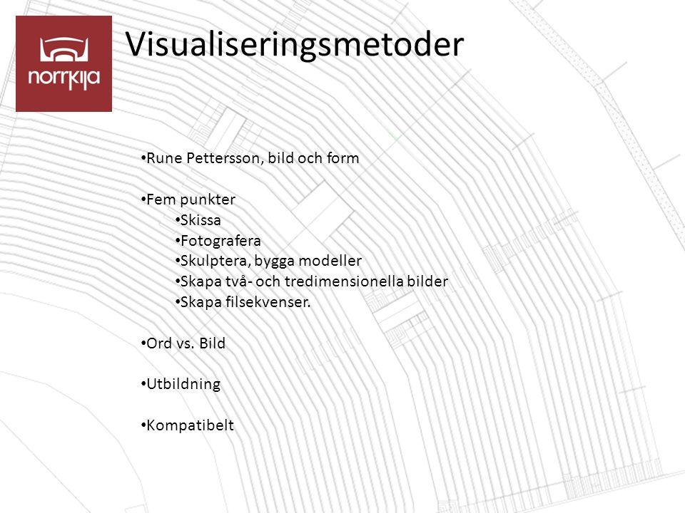 Visualiseringsmetoder Rune Pettersson, bild och form Fem punkter Skissa Fotografera Skulptera, bygga modeller Skapa två- och tredimensionella bilder Skapa filsekvenser.