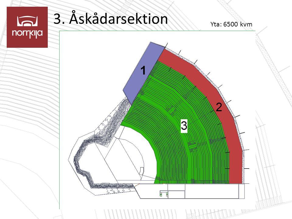 3. Åskådarsektion Yta: 6500 kvm