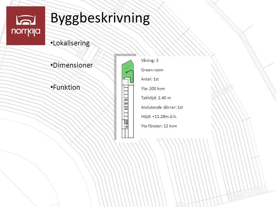 Byggbeskrivning Lokalisering Dimensioner Funktion Våning: 3 Green room Antal: 1st Yta: 200 kvm Takhöjd: 2.40 m Anslutande dörrar: 1st Höjd: +11.28m.ö.h.