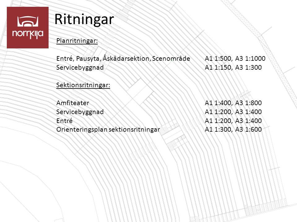 Ritningar Planritningar: Entré, Pausyta, Åskådarsektion, ScenområdeA1 1:500, A3 1:1000 ServicebyggnadA1 1:150, A3 1:300 Sektionsritningar: AmfiteaterA