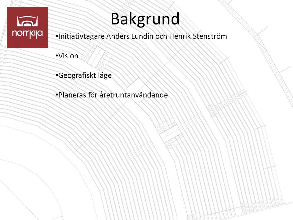 Bakgrund Initiativtagare Anders Lundin och Henrik Stenström Vision Geografiskt läge Planeras för åretruntanvändande