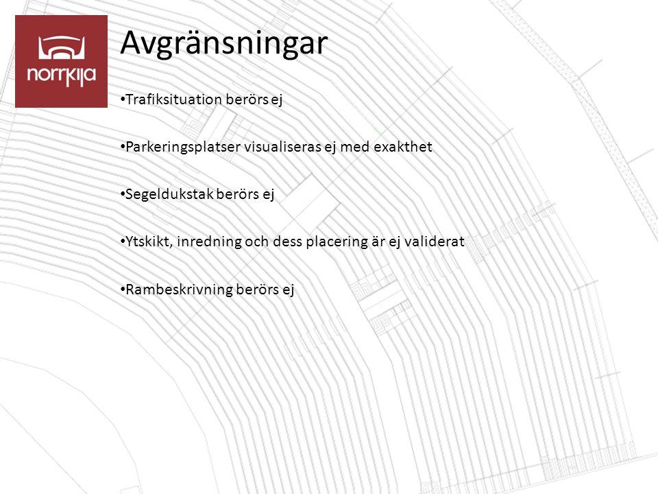 Avgränsningar Trafiksituation berörs ej Parkeringsplatser visualiseras ej med exakthet Segeldukstak berörs ej Ytskikt, inredning och dess placering är