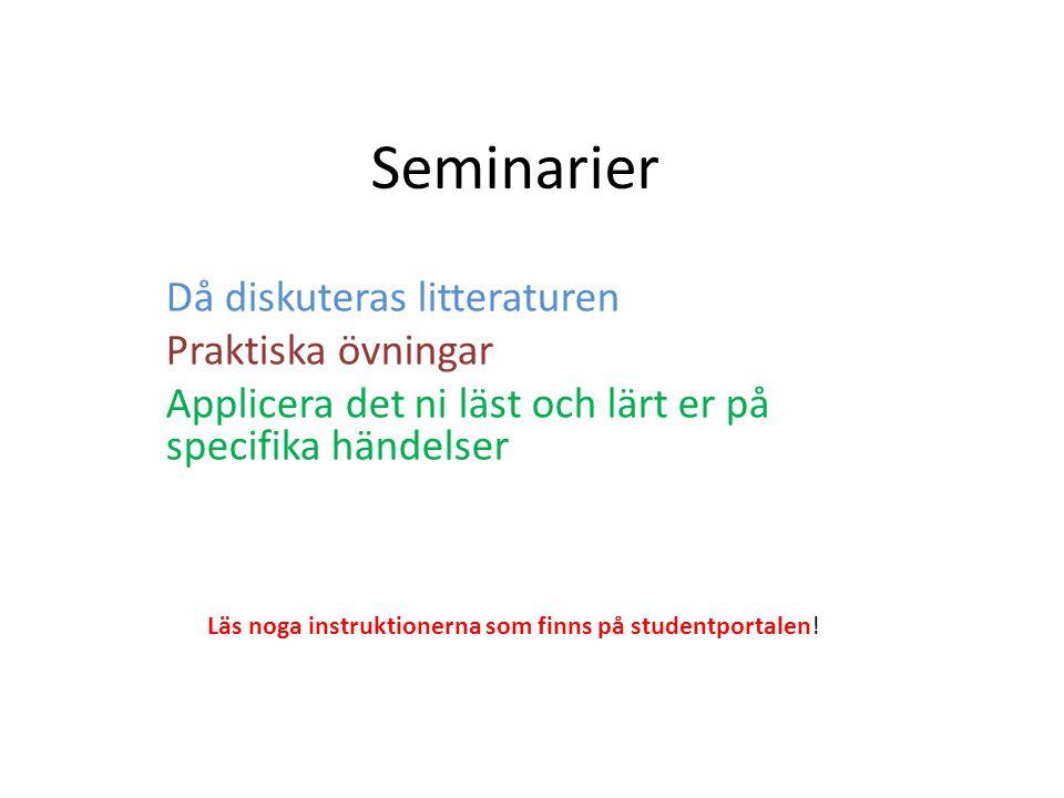 Seminarier Då diskuteras litteraturen Praktiska övningar Applicera det ni läst och lärt er på specifika händelser Läs noga instruktionerna som finns p
